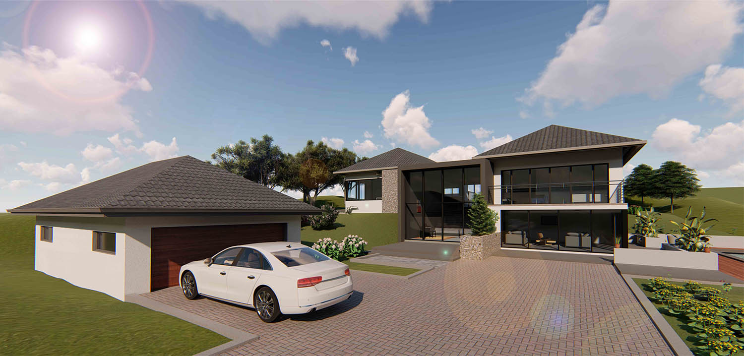 The house sits on a prominent site on a hill overlooking the slopes of Numbi Park.