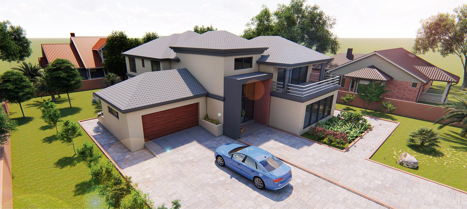 The Client wanted a cost effective but elegant double-storey with a Tuscan roof.  The design is meant to be affordable to construct but expensive to look at.