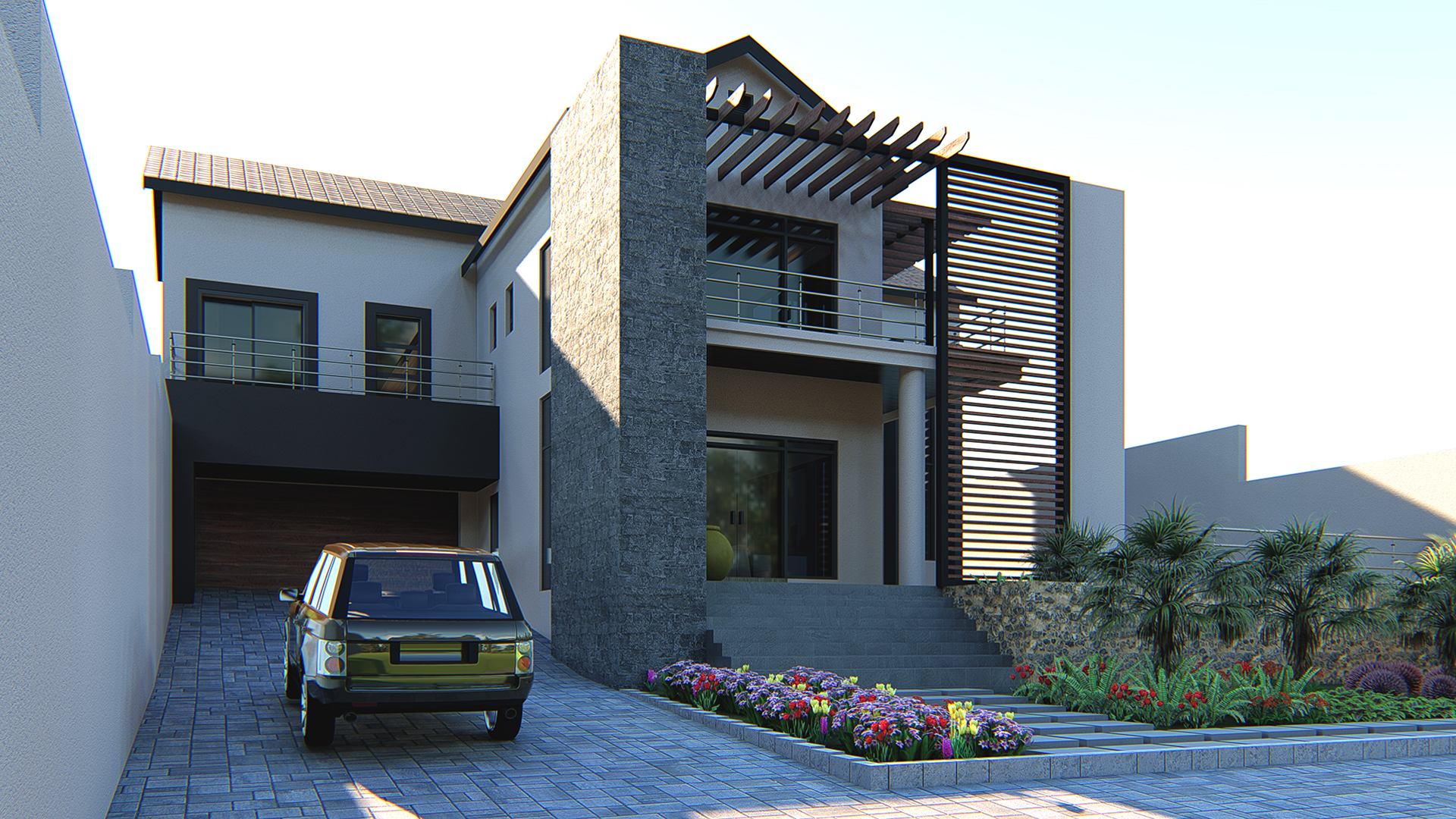 The client wantedsomething different, something that moves away from thetraditional hipped roofed and decorative columns common in their Neighbourhood.